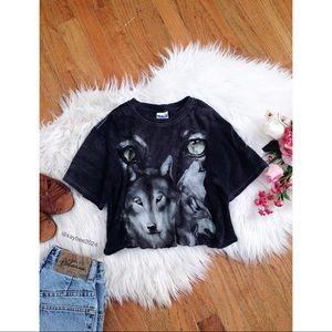 🌿 Vtg 90's • Stonewashed Wolf Graphic Crop Tee